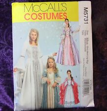 McCall's 5731 M5731 4 Looks Royal Princess Gown Costume SEWING Pattern Miss S-XL
