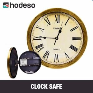 Hodeso Wall Clock with Hidden Safe (Brown)