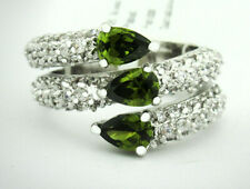 GEMSTONE 1.58 Cts PERIDOT & WHITE SAPPHIRE RING Silver Plated *NWT Size 7.5