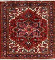 New Geometric Oriental Wool Hand-Knotted Medallion Area Rug Red Carpet 5 x 6