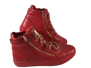Encore By Fiesso Red Leather Gold Chains and Zippers High Top Sneakers Size 13?