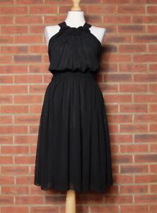 Zara Black Knot Front Halterneck Dress Size Small Mex 26 BNWT