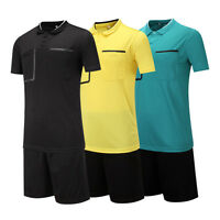 Men's Adult Youth Soccer Football Short Sleeve Shirts  Referee Jersey Uniforms