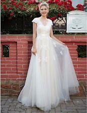 Schlicht Weiß Ivory Champagner Brautkleid Kurzarm Spitze Gürtel Maßanfertigung