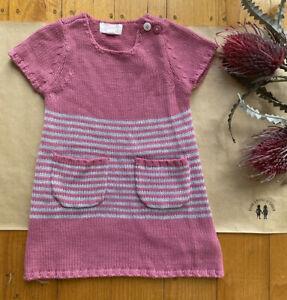 Pumpkin Patch baby size 12-18 months knitted pink grey stripe shift dress, VGUC
