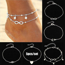5Pcs/Set Infinity Charm Anklet Ankle Bracelet Sandal Foot Chain Beach Jewelry