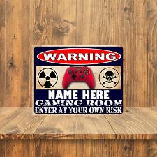 WARNING PERSONALISED GAMING ROOM METAL RETRO SIGN PUB MAN CAVE TAVERN (359PER)
