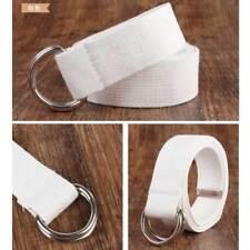 Vogue Men Women Unisex Canvas Waist Belt Metal D Ring Buckle Waistband top HOT~
