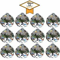 30mm Clear Crystal Ball Pendant Feng Shui Suncatcher Faceted Prism Balls 12PCS
