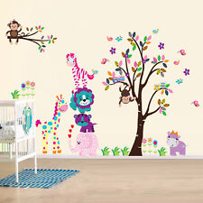 Happy Zoo Animals Wall Stickers Kids Nursery Children Decals Bedroom Decoration