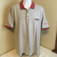 Vtg Pro Edge Polo Shirt Gray Large Detroit Red Wings NHL Hockey Free Shipping!
