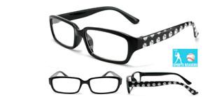 Reading Glasses Mens Eyewear Black Plastic Frames New Baseball Theme Printed