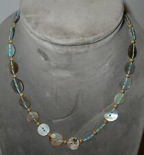 "ABALONE BUTTON NECKLACE W/SEED BEADS, 19"" CLASP NECK, CONTRASTING COLORS, NICE!"