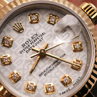 White Rolex Logo 26mm Datejust 18K Gold & SS Diamond Fluted Jubilee Ladies Watch