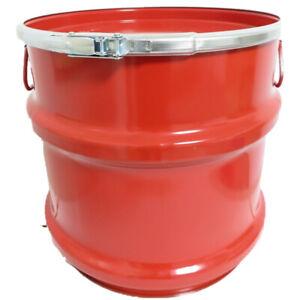 30 Liter Stahlblech-Hobbock / Blechfass mit Deckel / Hobbock NEU rot