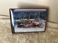 Leanin' Tree Christmas Card  - Old Truck With Dog & U.S. Flag Theme - Lot of 8