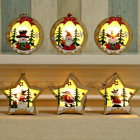 Christmas Decor Wooden Ornament LED Light Santa Claus Deer Cart Luminous Home