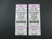 VTG 1994 Bristol FOOD CITY 250 Nascar 2 Ticket Stubs KENNY WALLACE Race Winner