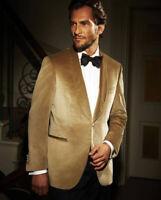Gold Velvet Shawl Lapel Men's Suit Slim Fit Tuxedo Formal Groom Prom Dinner Suit