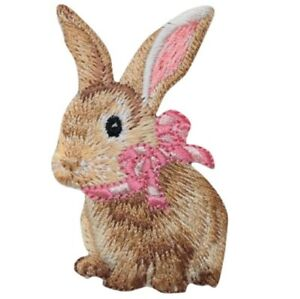 """Bunny Rabbit Applique Patch - Baby Cottontail, Pink Bow 2-3/8"""" (Iron on)"""