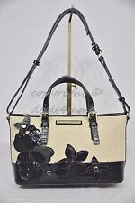 NWT Brahmin Mini Asher Satchel/Shoulder Bag in Black Miramonte-Cream with Black
