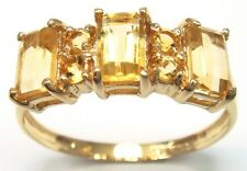 FINE 9KT SOLID YELLOW GOLD CITRINE AND WHITE TOPAZ RING SIZE 7   R1119