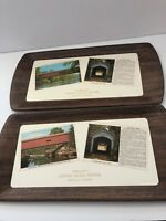 Vintage Rockville Indiana Covered Bridge Festival 2 Postcard Trays Souvenir