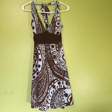 B DARLIN WOMENS JUNIORS BLUE/BROWN HALTER STYLE DRESS SIZE 11/12