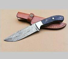 "10"" Handmade Damascus Steel Hunting knife Black Wooden Handle Leather Sheath"