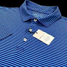 Peter Millar Seaside Wash 100% Pima Cotton Striped Blue Navy Men`s Polo Shirt L