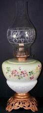 "Antique 1900's  Milk Glass HP Floral Decoration 18.5""t Kerosene Oil Lamp w/Shade"