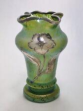 LOETZ Art Glass Vase Crete PAPILLON Decor Sterling Overlay ca.1898 Unique Form