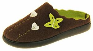 Coolers Womens Brown & Green Butterfly Felt slip on  Mules Slippers New