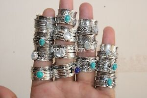 Lot 50 PCs. Spinner Ring Moonstone, Turquoise 925 Silver Plated Meditation Rings