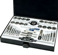 Professional 40Pc Metric Tap and Die Set Kit with Split Dies Wrench & Steel Case