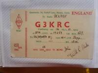 OLD VINTAGE QSL HAM RADIO CARD. BARNET, ENGLAND. 1959