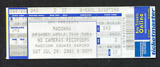 Drowned World Tour 2001 Madonna Unused Full Concert Ticket Madison Square Garden