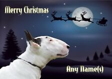 ENGLISH BULL TERRIER CHRISTMAS CARD Personalised & Illustrated inside & out