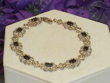 Delicate Silver Tone Filigree Bracelet Real Oval Sapphire Stones