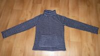 Ladies New Look Navy and White Striped Fleece Top Jumper Roll Neck Size 12