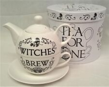 ALCHEMY GOTHIC DESIGNS WITCHES BREW BONE CHINA TEA FOR ONE SET CUP SAUCER TEAPOT