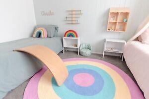 Round Rug Pastel Pink Rainbow - 100% Cotton Wool - 120cm FREE SHIPPING AUS