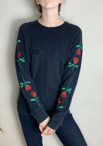 Cool Zoe Karssen sweatshirt Black Flower Child Cotton Jumper M Uk 12 10 Rose 🌹