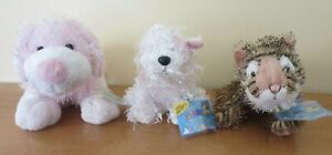 Lot of 3 - Webkinz,Lil'Kinz Pink/White Dog, White Terrier & Tiger New w/Code