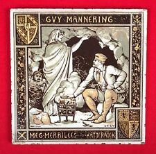 "Rare 8"" Antique Tile, John Moyr Smith, Guy Mannering Ch 54, Sir W. Scott, 1870s"