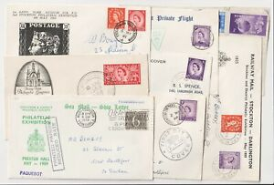 GB QEII Philatelic Covers. Late 1950s - early 60's. TPO, Parachute, Paquebot etc