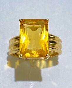Clyde Duneier 10KT Yellow Gold & 6 Carat Madeira Citrine Ring Size 7.