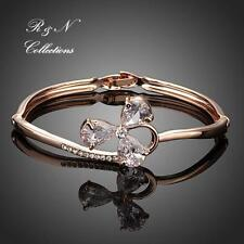 Clover Design 18K Rose Gold Plated Swiss Cubic Zirconia Charm Bangle B657-32