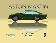 Print on Canvas Aston Martin DB5 1963 - 1965 Green / Yellow Version 160 x 120