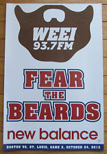 """2013 World Series WEEI K Card Poster Game 2 Boston Red Sox """"Fear the Beards"""""""
